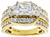 Cubic Zirconia 18k Yellow Gold Over Silver Ring 4.70ctw (2.89ctw DEW)