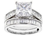 Cubic Zirconia Silver Ring With Band 6.39ctw (4.66ctw DEW)