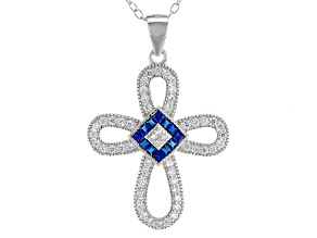 Synthetic Blue Spinel And White Cubic Zirconia Rhodium Over Silver Pendant W/ Chain .84ctw