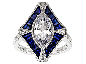 Picture of Lab Created Blue Spinel And White Cubic Zirconia Rhodium Over Sterling Ring 3.86ctw