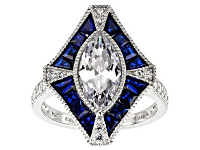 Synthetic Blue Spinel And White Cubic Zirconia Rhodium Over Sterling Ring 3.86ctw