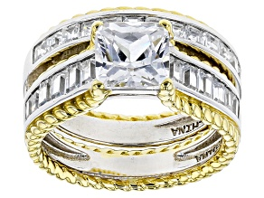 White Cubic Zirconia Rhodium Over Sterling  And 18k Yg Over Sterling Ring W/ Band 7.20ctw