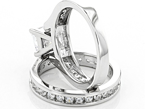 White Cubic Zirconia Rhodium Over Sterling Silver Ring With Band 3.77ctw