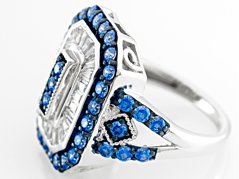 Swarovski ® Blue Zirconia & White Cubic Zirconia Rhodium Over Silver Ring 3.99ctw