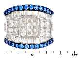 Swarovski ® Blue Zirconia & White Cubic Zirconia Rhodium Over Silver Ring 7.24ctw