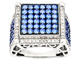 Swarovski ® Blue Zirconia & White Cubic Zirconia Rhodium Over Silver Ring 4.82ctw