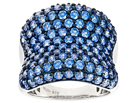 Blue Zirconia From Swarovski ® Rhodium Over Silver Ring 7.35ctw