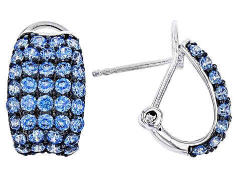 Blue Zirconia From Swarovski ® Rhodium Over Silver Earrings 4.41ctw