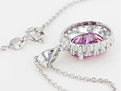 Swarovski ® Purple Zirconia & White Cubic Zirconia Rhodium Over Silver Pendant With Chain 9.79ctw