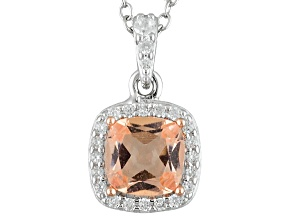Pink Morganite Simulant And White Cubic Zirconia Silver Pendant With Chain .91ctw