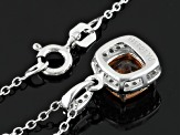 Morganite Simulant And White Cubic Zirconia Silver Pendant With Chain .91ctw