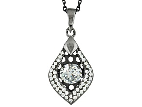 White Cubic Zirconia Black Rhodium Over Sterling Pendant With Chain 1.87ctw
