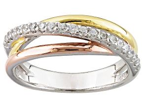 White Cubic Zirconia Rhodium And 18k Yellow And Rose Gold Over Silver Ring