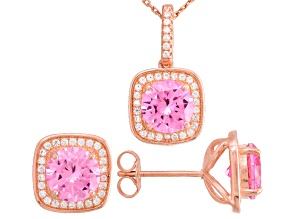 Pink And White Cubic Zirconia 18k Rose Gold Over Sterling Silver Jewelry Set 11.23ctw