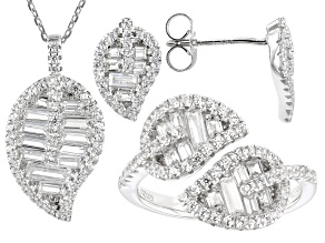 White Cubic Zirconia Rhodium Over Sterling Silver Jewelry Set 3.68ctw