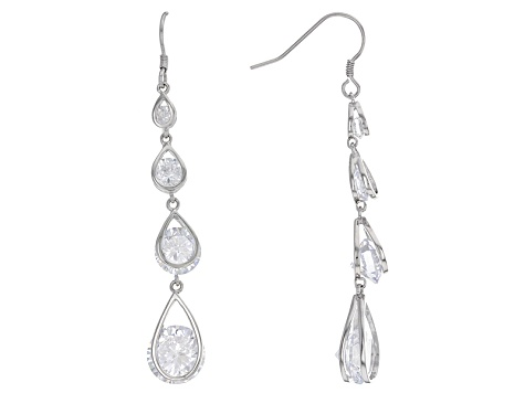 White Cubic Zirconia Rhodium Over Sterling Silver Earrings 20.20ctw