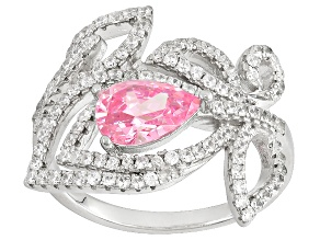 Pink And White Cubic Zirconia Rhodium Over Sterling Silver Ring 2.45ctw