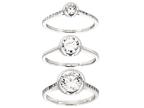 White Cubic Zirconia Rhodium Over Sterling Silver Rings 4.84ctw