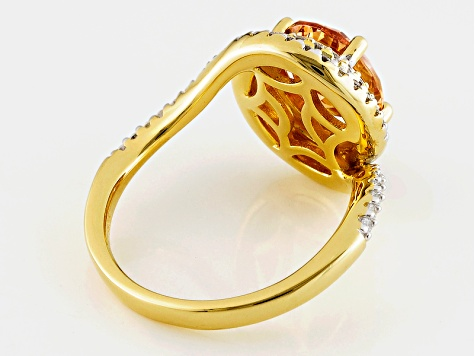Brown And White Cubic Zirconia 18k Yellow Gold Over Sterling Silver Ring 4.60ctw