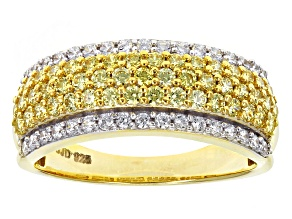 Swarovski ® Yellow Zirconia & White Cubic Zirconia 18k Yellow Gold Over Silver Ring 1.90ctw