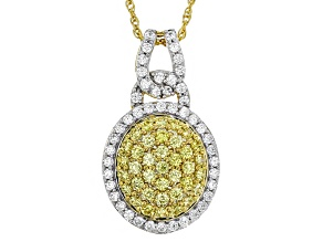 Swarovski ® Yellow Zirconia & White Cubic Zirconia 18k Yellow Gold Over Silver Pendant W Chain