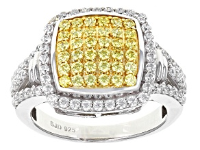 Swarovski ® Yellow Zirconia & White Cubic Zirconia Rhodium Over Silver Ring 2.10ctw