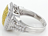Swarovski ® Yellow Zirconia & White Cubic Zirconia Rhodium Over Silver Ring 2.10ctw