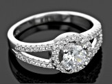 White Cubic Zirconia Rhodium & 18k Yg Over Sterling Silver Ring With Bands 2.03ctw