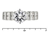 White Cubic Zirconia Rhodium Over Sterling Silver Ring With Band 3.85ctw