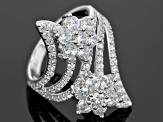 White Cubic Zirconia Rhodium Over Sterling Silver Ring 4.40ctw