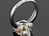 Brown Cubic Zirconia Rhodium Over Sterling Silver Ring 9.29ctw (5.65ctw DEW)