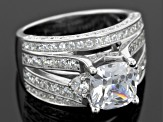 White Cubic Zirconia Rhodium Over Sterling Silver Ring 6.39ctw