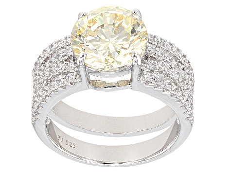 Yelow And White Cubic Zirconia Silver Ring 8.24ctw (4.59ctw DEW)