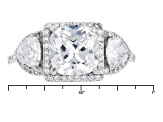 White Cubic Zirconia Rhodium Over Sterling Silver Ring 6.04ctw