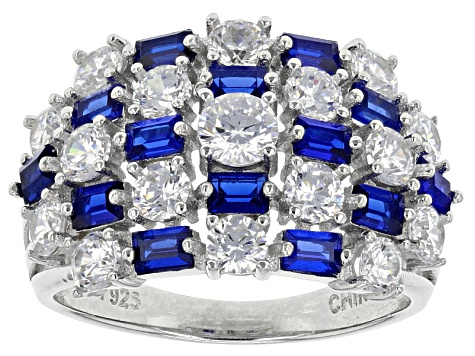 Lab Created Blue Spinel And White Cubic Zirconia Rhodium Over Sterling Silver Ring 5.27ctw