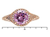 Pink And White Cubic Zirconia 18k Rg Over Sterling Silver Ring 4.36ctw