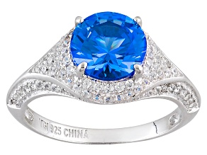 Lab Created Blue Spinel And White Cubic Zirconia Rhodium Over Sterling Silver Ring 4.36ctw