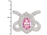 Pink And White Cubic Zirconia Rhodium Over Sterling Silver Ring 5.51ctw