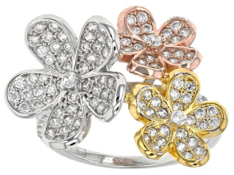 White Cubic Zirconia Rhodium Over Sterling & 18k Yellow & Rose Gold Over Sterling Ring 2.47ctw