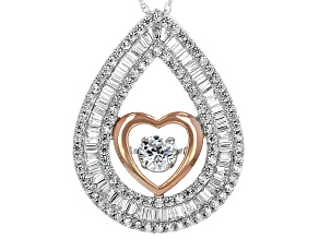 Cubic Zirconia Silver And 18k Rose Gold Over Silver Dancing Bella Heart Pendant With Chain 4.17ctw