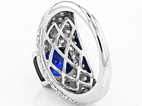 Lab Created Sapphire And White Cubic Zirconia Rhodium Over Sterling Ring 4.64ctw