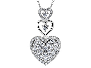 White Cubic Zirconia Rhodium Over Sterling Silver Pendant 4.23ctw