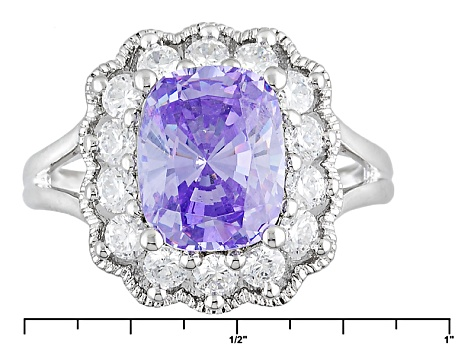 Purple And White Cubic Zirconia Sterling Silver Ring 6.77ctw