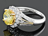 Yellow And White Cubic Zirconia Silver And 18k Yellow Gold Accent Plating Ring 6.29ctw