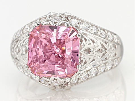 Pink And White Cubic Zirconia Sterling Silver Ring 10.22ctw (5.91ctw DEW)