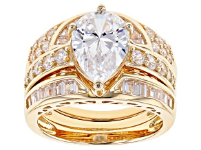 White Cubic Zirconia 18k Yellow Gold Over Silver Ring With Guards 7.26ctw