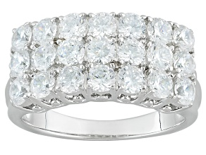 White Cubic Zirconia Rhodium Over Sterling Silver Ring 4.04ctw