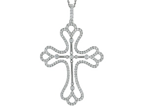 White Cubic Zirconia Rhodium Over Sterling Silver Cross Pendant With Chain 3.43ctw