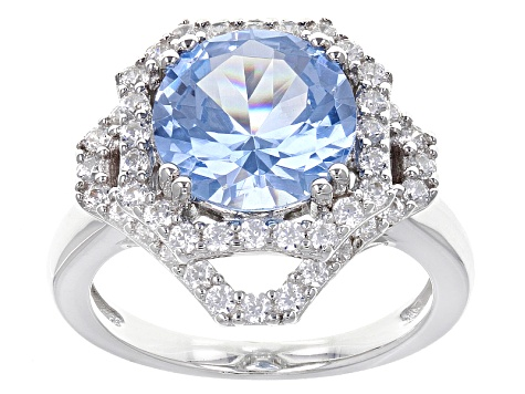 Synthetic Aqua Spinel And White Cubic Zirconia Rhodium Over Sterling Ring 4.84ctw