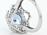 Lab Created Blue Spinel And White Cubic Zirconia Rhodium Over Sterling Ring 4.84ctw